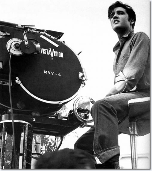 Elvis sitting on the camera crane with the Vistavision Camera