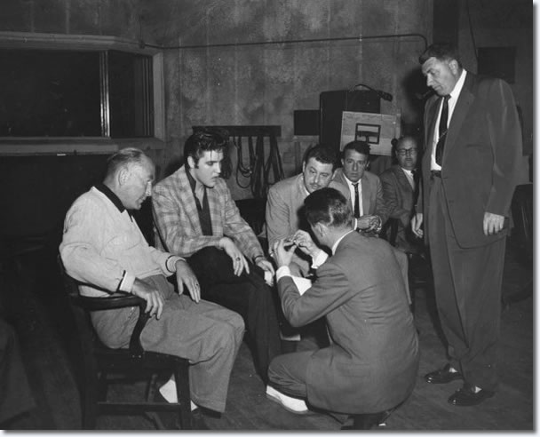 Hal Wallis, Elvis and Hal Kanter in discussion on the Paramount Scoring Stage January 1957