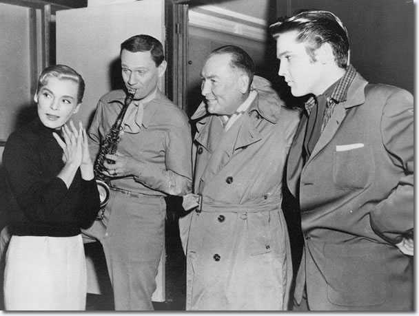 Lizabeth Scott, Wendell Corey, Hal Wallis and Elvis Presley