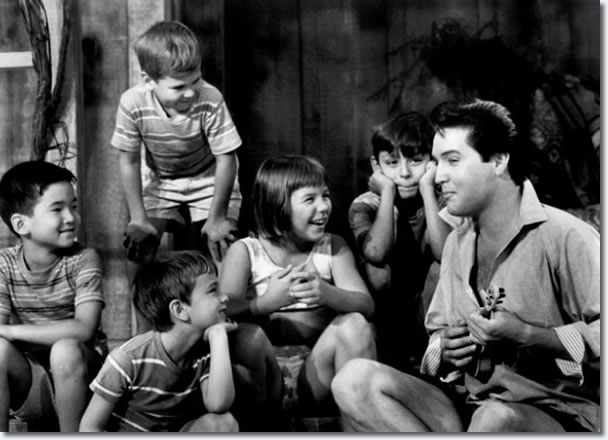 Elvis Presley in the 1966 movie, 'Paradise, Hawaiian Style'. Others appearing in the Paramount release were Suzanna Leigh, James Shigeta, Donna Butterworth, Marianna Hill, Irene, Linda Wong, Julie Parrish and Jan Shepard. The film was produced by Hal B. Wallis. (Paramount Pictures)