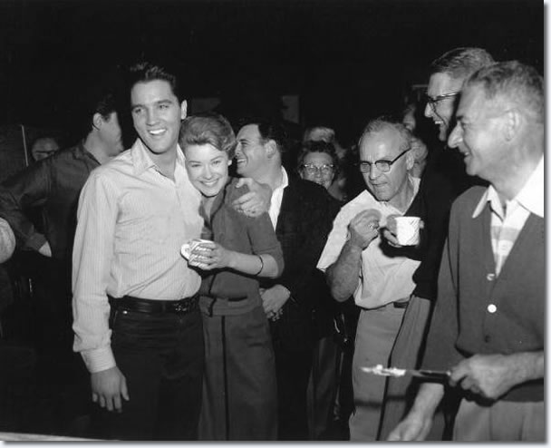 Elvis Presley and co-star Hope Lange, Alan Fortas is standing behind, in the background.