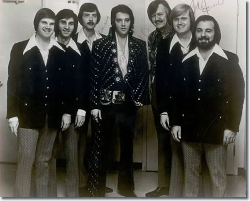 Elvis and J.D. Sumner and The Stamps Quartet; Donnie is to the immediate left of Elvis, 1972L To R: Bill Baize, future Oak Ridge Boy Richard Sterban, Donnie Sumner, Elvis, J.D. Sumner, Ed Enoch, and Nick Bruno