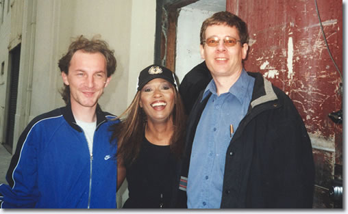 Daniel Avram, Myrna Smith and David Troedson, stage door, Palais Theatre, Melbourne, 2003.