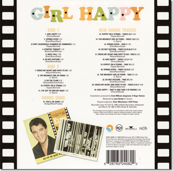 Back Cover - Girl Happy FTD Special Edition CD