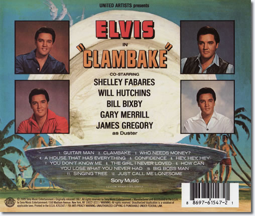 The back cover of the Clambake CD album.