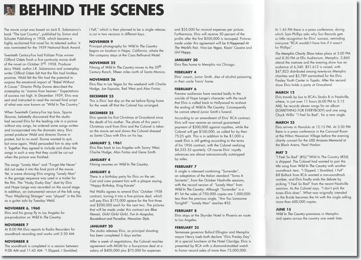 Behind The Scenes Page: Wild In The Country FTD Special Edition Soundtrack CD