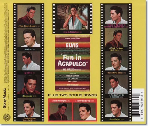 The back cover of the Fun In Acapulco CD album.