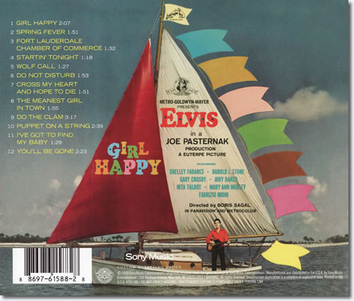 The back cover of the Girl Happy CD album.
