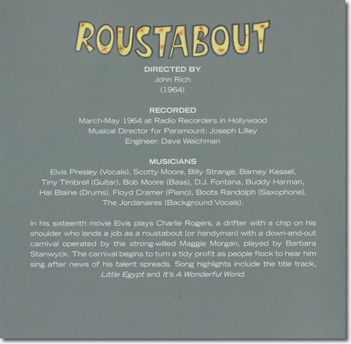 Image from back of the front cover, inside Roustabout CD.
