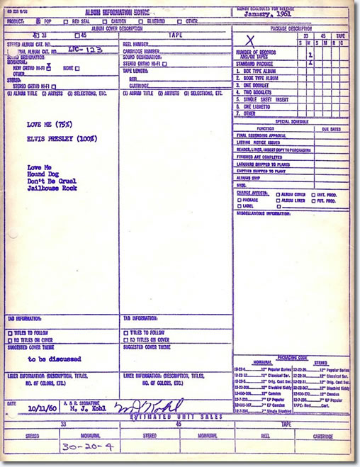 The Recently discovered 'RCA Listing Notice' for 'Love Me' EP from 1960. Click image to view large size.