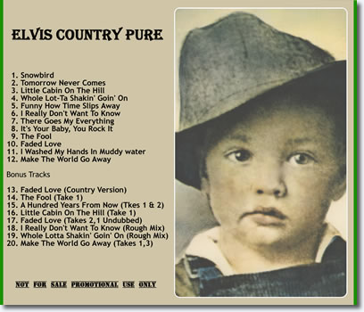 Elvis Country Pure CD : Back cover.