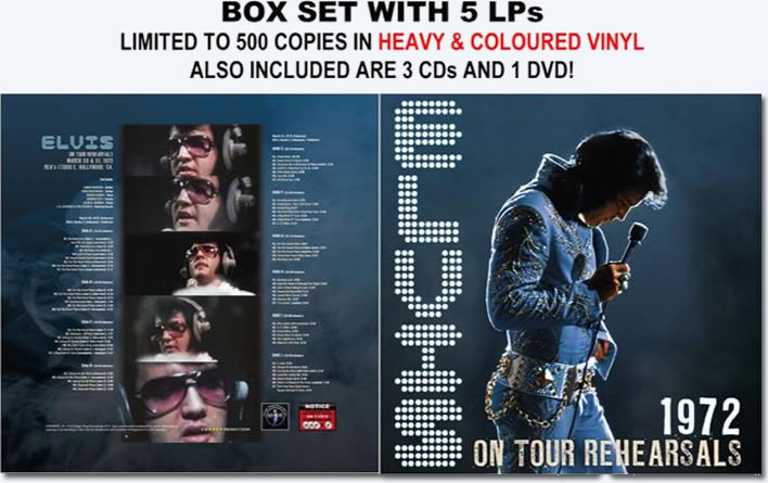 Elvis Presley : 1972 On Tour Rehearsals Box Set : 5 LPs, 3