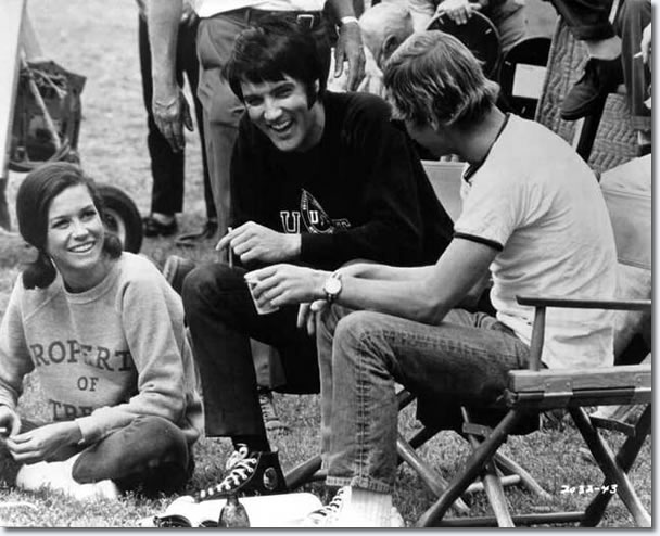 Mary Tyler Moore, Elvis and director William A. Graham share a joke between takes